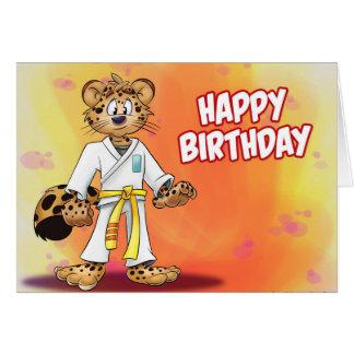 karatetecknadfödelsedag hälsningskort