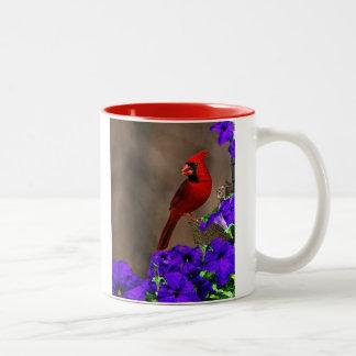 Kardinal med Petunias Två-Tonad Mugg
