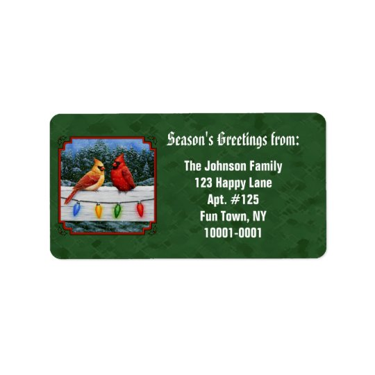 Kardinal- och julljusgrönt adressetikett