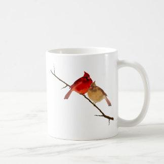 kardinaler på en gren kaffemugg