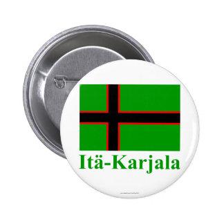 Karelia flagga med namn i finska knapp med nål
