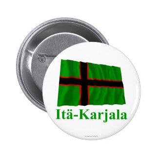 Karelia som vinkar flagga med namn i finska standard knapp rund 5.7 cm