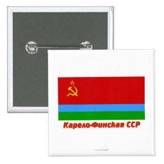 Karelo-Finska SSR flagga med namn Knapp