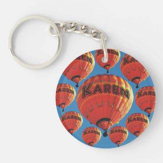 Karen luftballonger dubbelsidigt rund akryl nyckelring