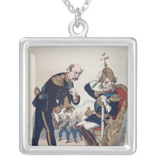 karikatyr av Kaiser Wilhelm av Prussia Silverpläterat Halsband