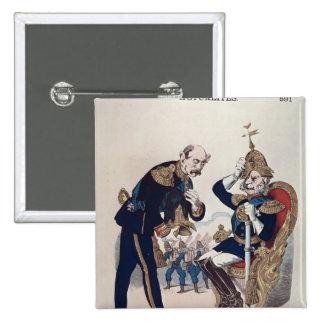 karikatyr av Kaiser Wilhelm av Prussia Standard Kanpp Fyrkantig 5.1 Cm