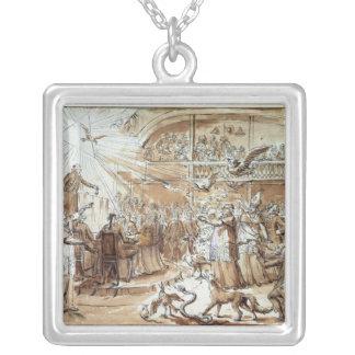 Karikatyr av prästerskapen silverpläterat halsband