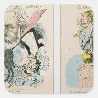 Karikatyrer av Victor Hugo och Napoleon III Fyrkantigt Klistermärke