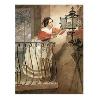 Karl Bryullov- italiensk kvinnablixt en lampa Vykort