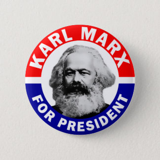 Karl Marx för president Standard Knapp Rund 5.7 Cm