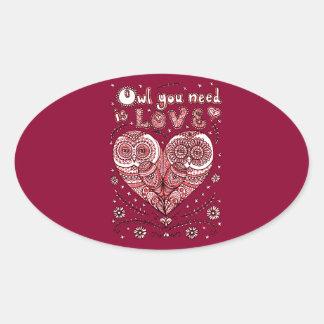 Kärlek 2 ovalt klistermärke