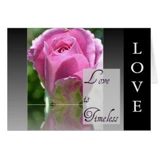 Kärlek är det tidlösa rosa kortet hälsningskort