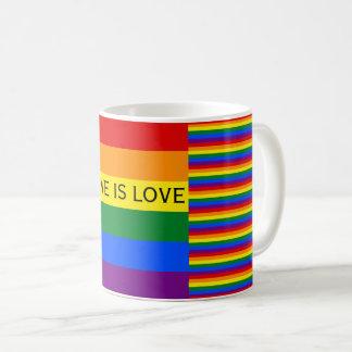 Kärlek är gay pride för kärlekregnbågeflagga LGBT Vit Mugg