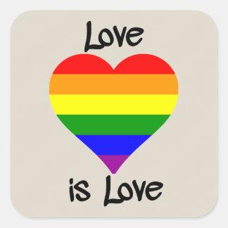 Kärlek är kärlek fyrkantigt klistermärke
