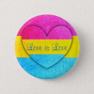 Kärlek är kärlek som den Pansexual flagga knäppas Standard Knapp Rund 5.7 Cm