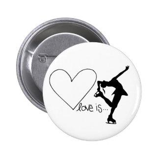 Kärlek är konståkningen, flickaskater & hjärta standard knapp rund 5.7 cm