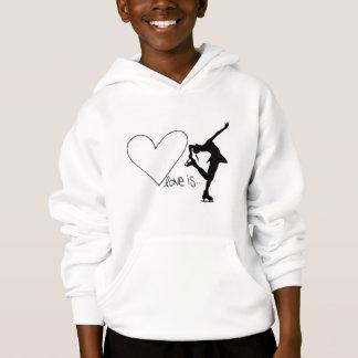 Kärlek är konståkningen, flickaskater & hjärta t shirt