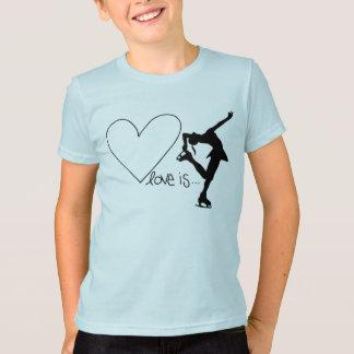 Kärlek är konståkningen, med hjärta t-shirt