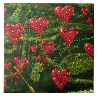 Kärlek är kuslig - röda hjärtor på konstig abstrak stor kakelplatta