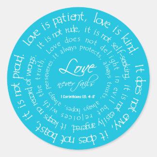 Kärlek är tålmodig Aqua för rundabröllopklistermär