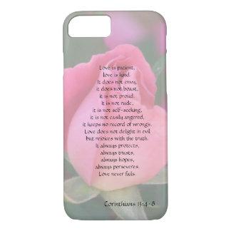 Kärlek är tålmodig, Corinthians verse, w-rosa ros