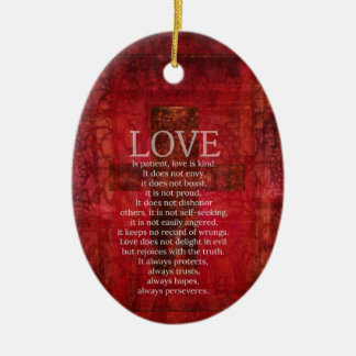 Kärlek är tålmodig kärlek är den snälla julgransprydnad keramik