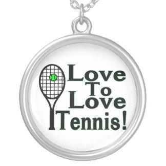 Kärlek att älska tennis silverpläterat halsband