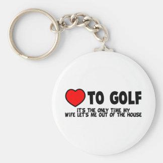 Kärlek att golf rund nyckelring
