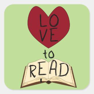 Kärlek att läsa - ändra färg fyrkantigt klistermärke