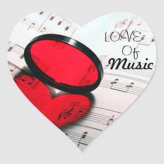 Kärlek av musik hjärtformat klistermärke
