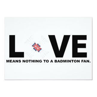 Kärlek betyder ingenting till en Badmintonfläkt 12,7 X 17,8 Cm Inbjudningskort