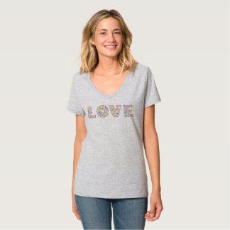 Kärlek blommar V-nacken T-tröja T-shirt