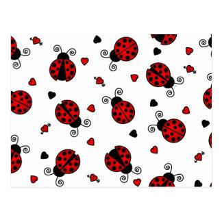 Kärlek buggar röda nyckelpigor vykort
