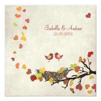 Kärlek bygga bo fyrkantigt 13,3 cm inbjudningskort
