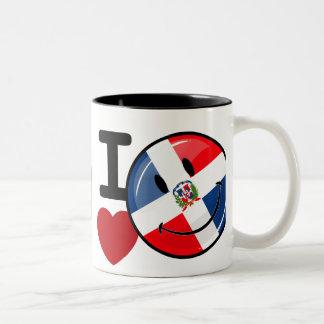 Kärlek Dominikanska republiken som ler flagga Två-Tonad Mugg