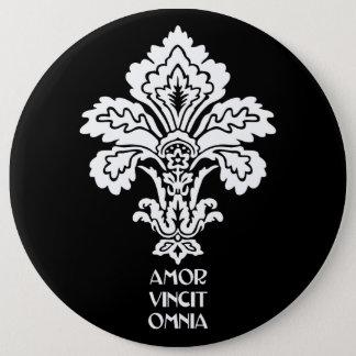 Kärlek erövrar alla (svart-vit) jumbo knapp rund 15.2 cm