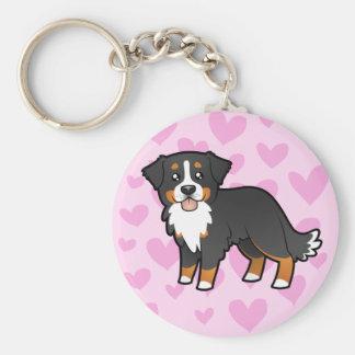 Kärlek för Bernese berghund Rund Nyckelring
