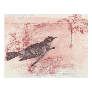 kärlek för brev för romantisk fågelteckninggrunge vykort