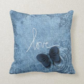 Kärlek för fjäril för blåttDenim söt Dekorativ Kudde