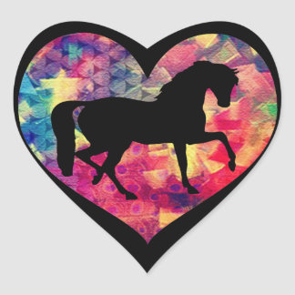 Kärlek för hästar hjärtformat klistermärke