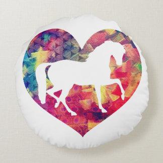 Kärlek för hästar rund kudde