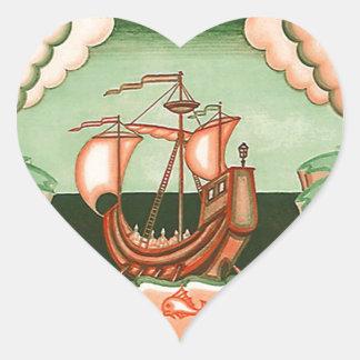 Kärlek för hav för hav för segling för frakt för hjärtformat klistermärke