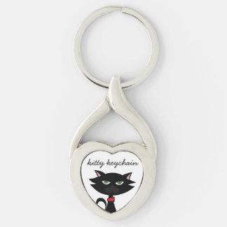 Kärlek för kattungeKeychain- svart katt Twisted Heart Silverfärgad Nyckelring