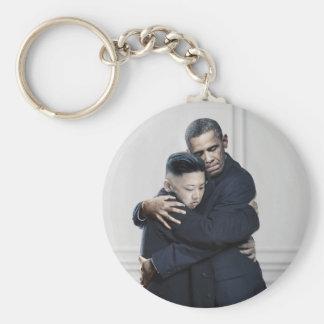 Kärlek för Obama Kim Jong Un Nordkorea Rund Nyckelring
