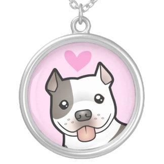 Kärlek för Pitbull/amerikanStaffordshire Terrier Silverpläterat Halsband