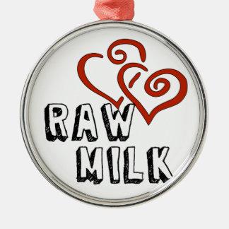 Kärlek för rå mjölk julgransprydnad metall