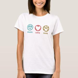 Kärlek för rundasymbolsfred tafsar T-tröja T Shirt