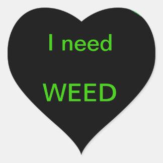 Kärlek för växten hjärtformat klistermärke
