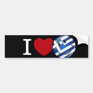 Kärlek från Grekland som ler flagga Bildekal