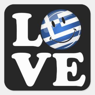 Kärlek från Grekland som ler grekisk flagga Fyrkantigt Klistermärke